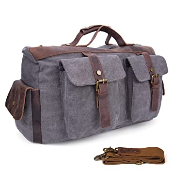ec99f1e86fcaf8 Amazon.com | Weekender Overnight Bag Vintage Canvas Genuine Leather Travel  Duffel Large Capacity Tote Handbag Carry on Luggage (Blue) | Travel Duffels