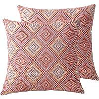 JSBYY Boho Throw Pillow Covers Super Farmhouse Cushion Cases Set of 2 45x45 cm 18x18 inch (BOHO-10, 18x18)