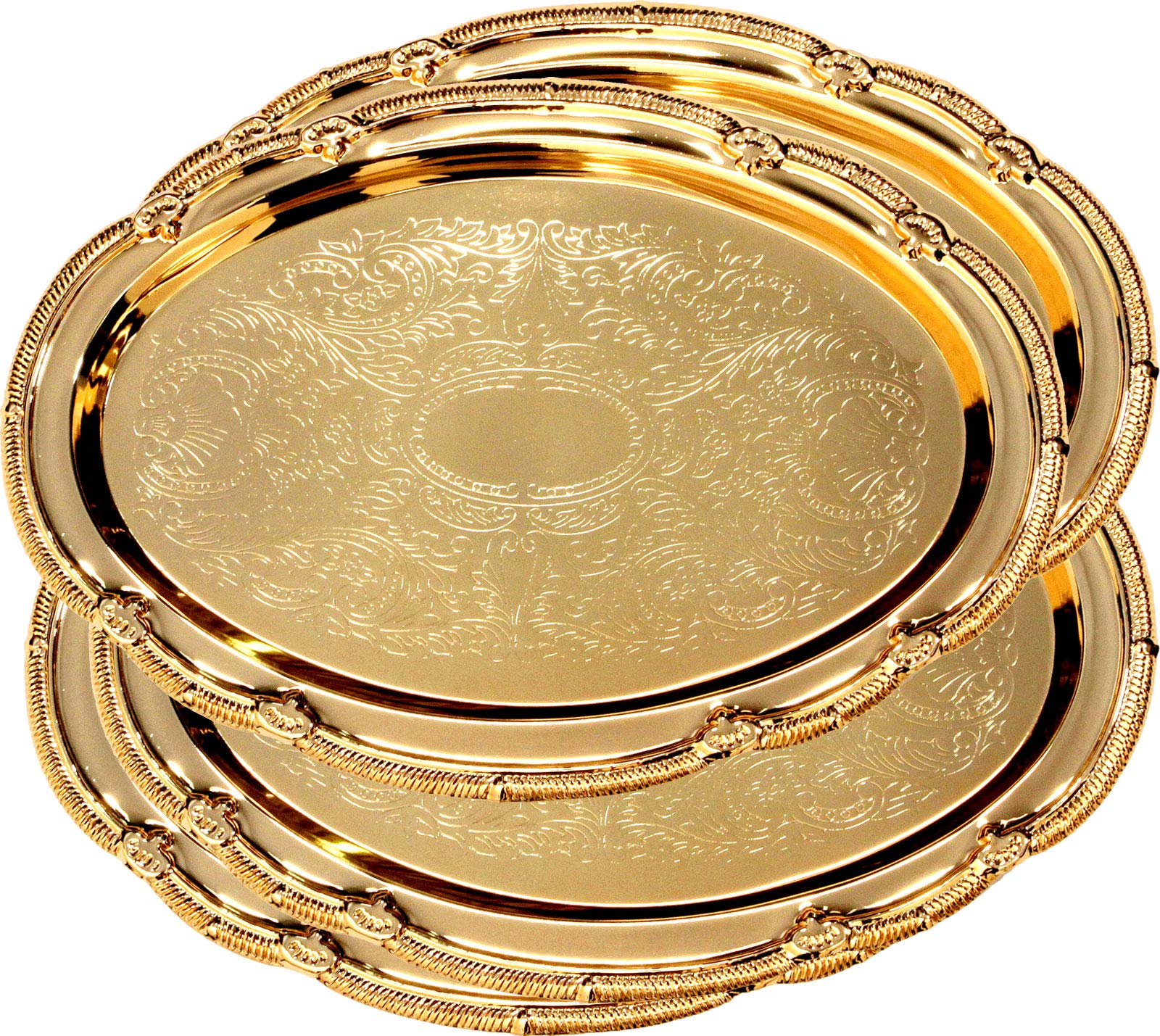 Maro Megastore (Pack of 4) 17.7-Inch x 13-Inch Oval Iron Gold Plated Serving Tray Edge Floral Engraved Decorative Wedding Birthday Dessert Cake Snack Wine Candle Platter Plate Party 125 Ts-162
