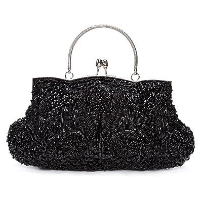 7f15a88bcb85 KISSCHIC Vintage Beaded Sequin Design Clutch Purse Evening Bag (Black)