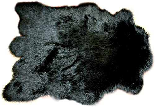 8' Black/Faux Fur Bear/Sheep Skin Accent Rug/Premium Custom Area Throw Carpet/New