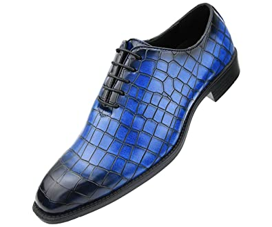599a162bd309 Bolano Mens Exotic Faux EEL and Croco Skin Oxford Dress Shoes with Black  Burnished Toe