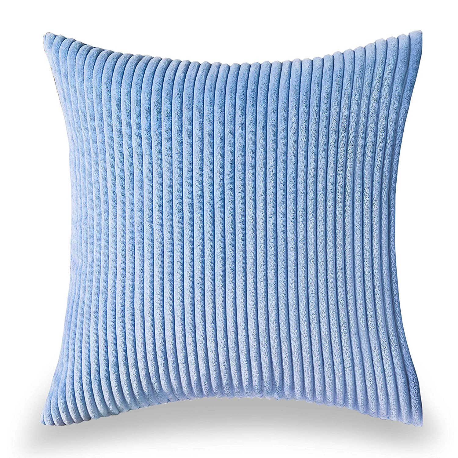 HOME BRILLIANT Solid Winter Halloween Christmas Decorative Accent Pillow Case Striped Corduroy Plush Velvet Cushion Cover Sofa, Cream Cheese, 18x18-inch (45cm) HBCRDCC101