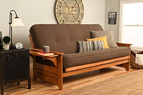 Kodiak Furniture Phoenix Full Size Futon in Espresso Finish, Linen Stone