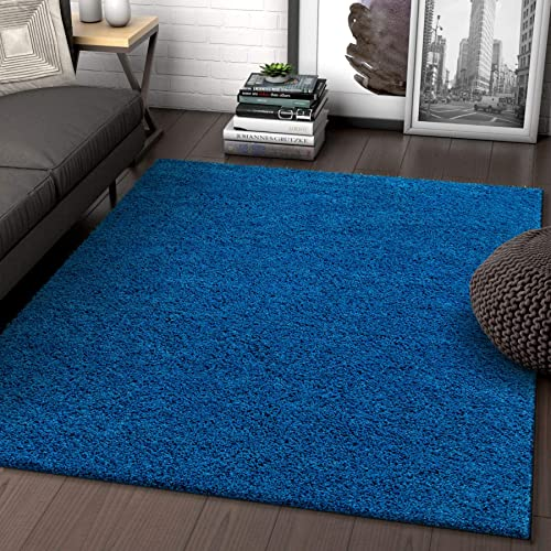 Solid Retro Modern Dark Blue Shag 7×10 6 7 x 9 10 Area Rug Plain Plush Easy Care Thick Soft Plush Living Room Kids Bedroom