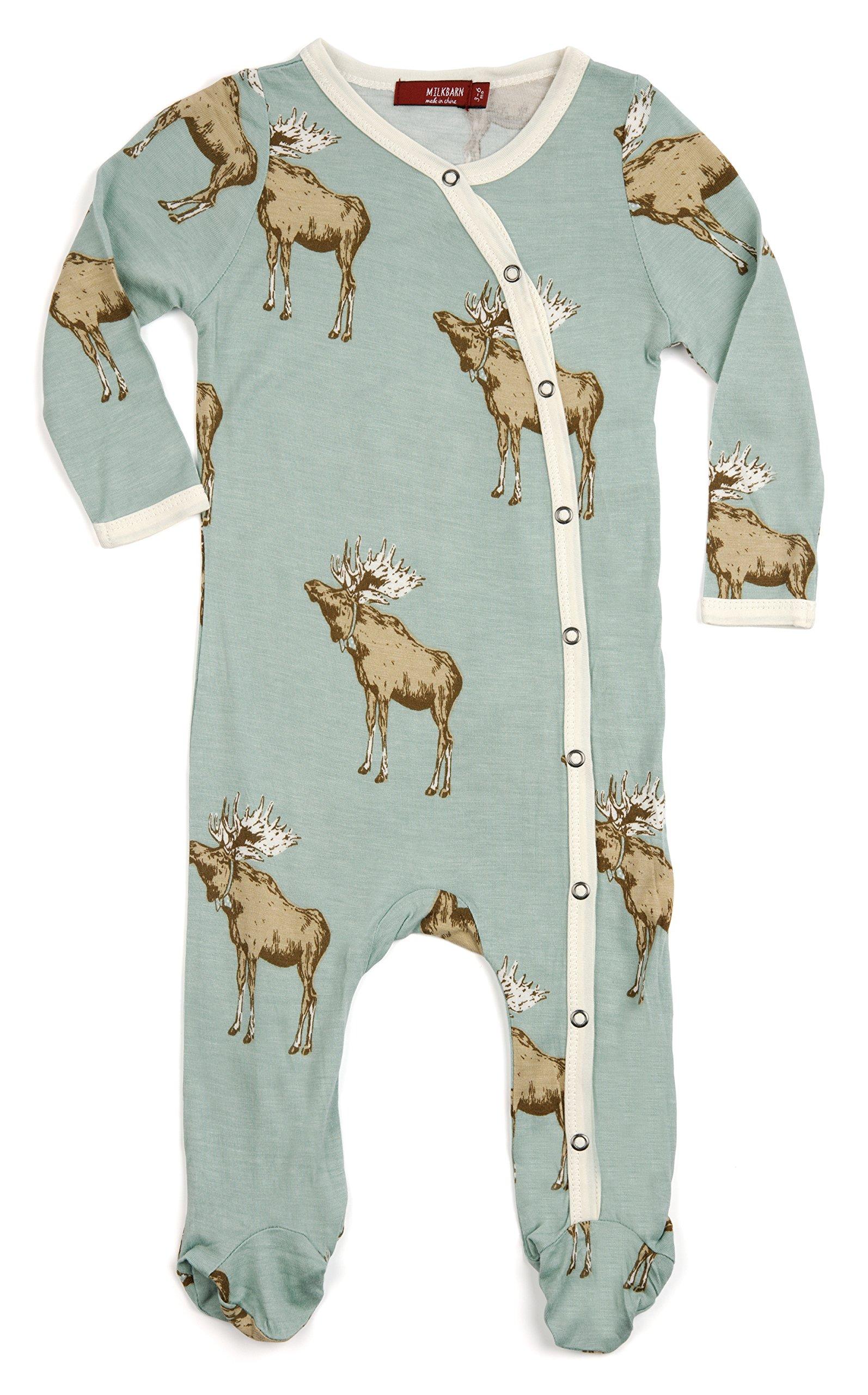 Milkbarn Bamboo Footed Romper ''Bowtie Moose'' (3-6 Months)