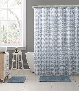 geometric light stone blue grey white embossed fabric shower curtain octagon dot design 72