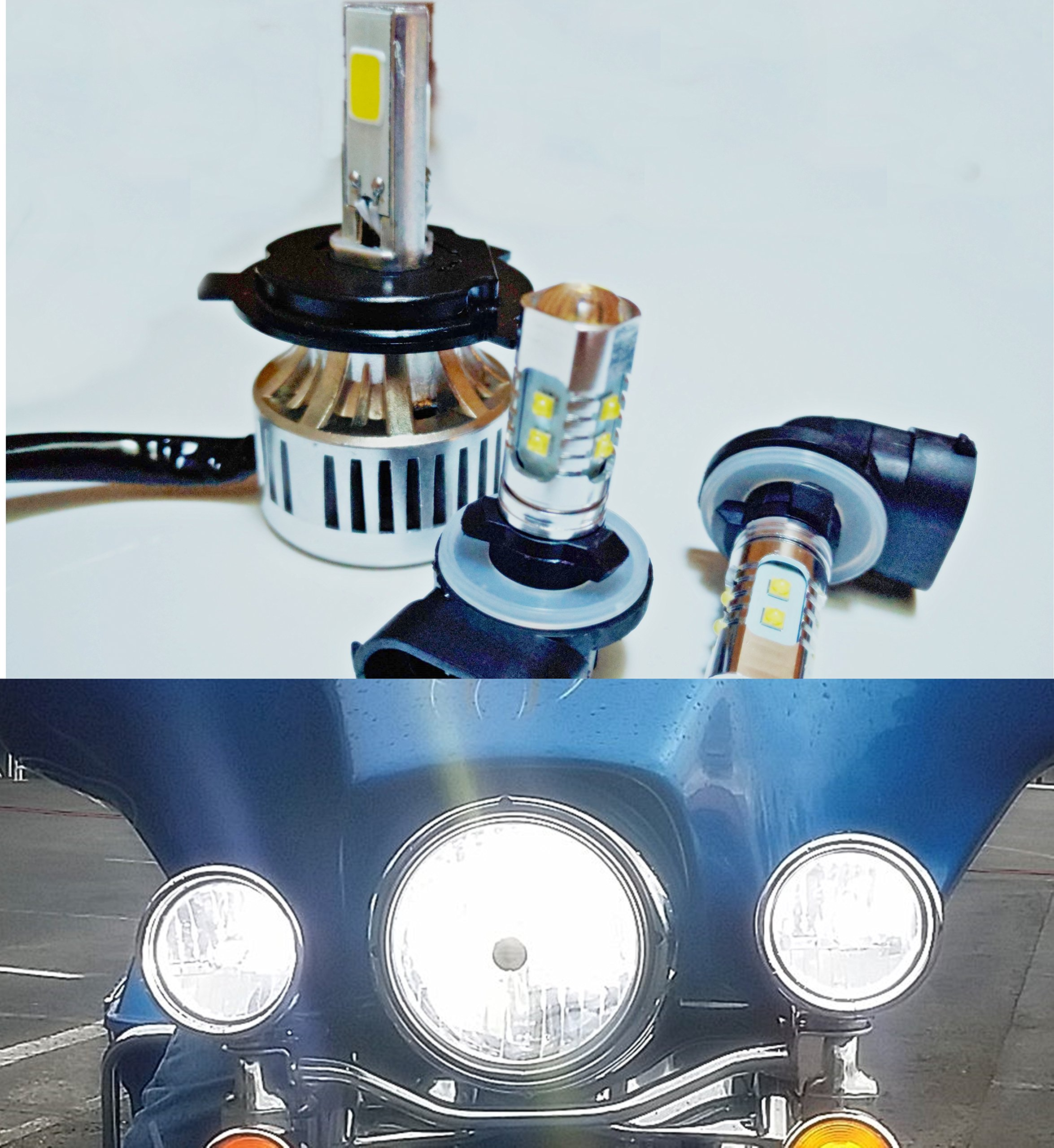 2006 and Up 3 Piece Super Bright Paradise Lights US Ship Harley Electra Glide, Ultra Classic, Heritage, Softail, FLH, FLHX, FLHRS, FLHTC, FLHTCU LED Complete 3 Bulb Set by Paradise Lights LLC