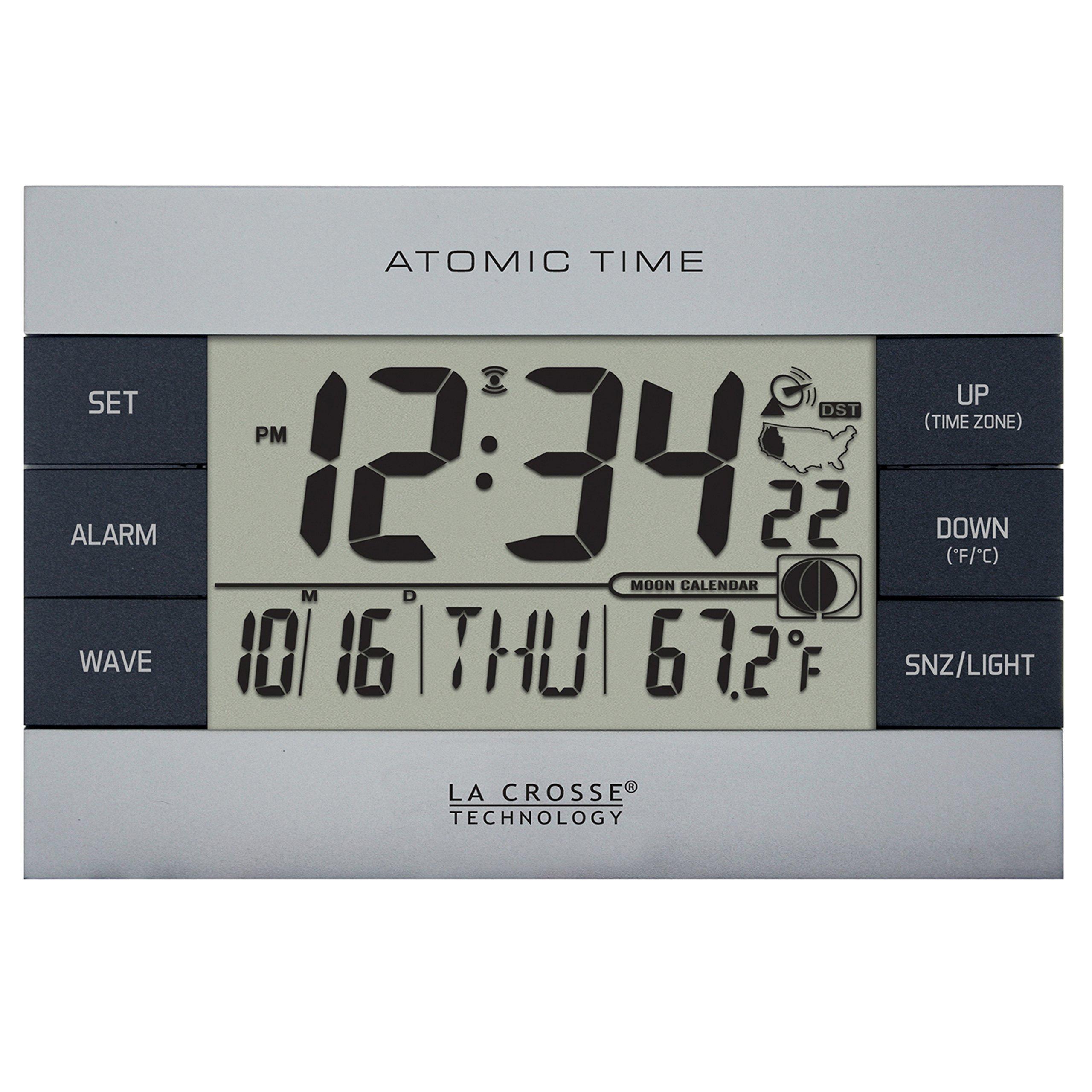 La Crosse Technology 617-1280 Atomic Digital Alarm Clock, Silver