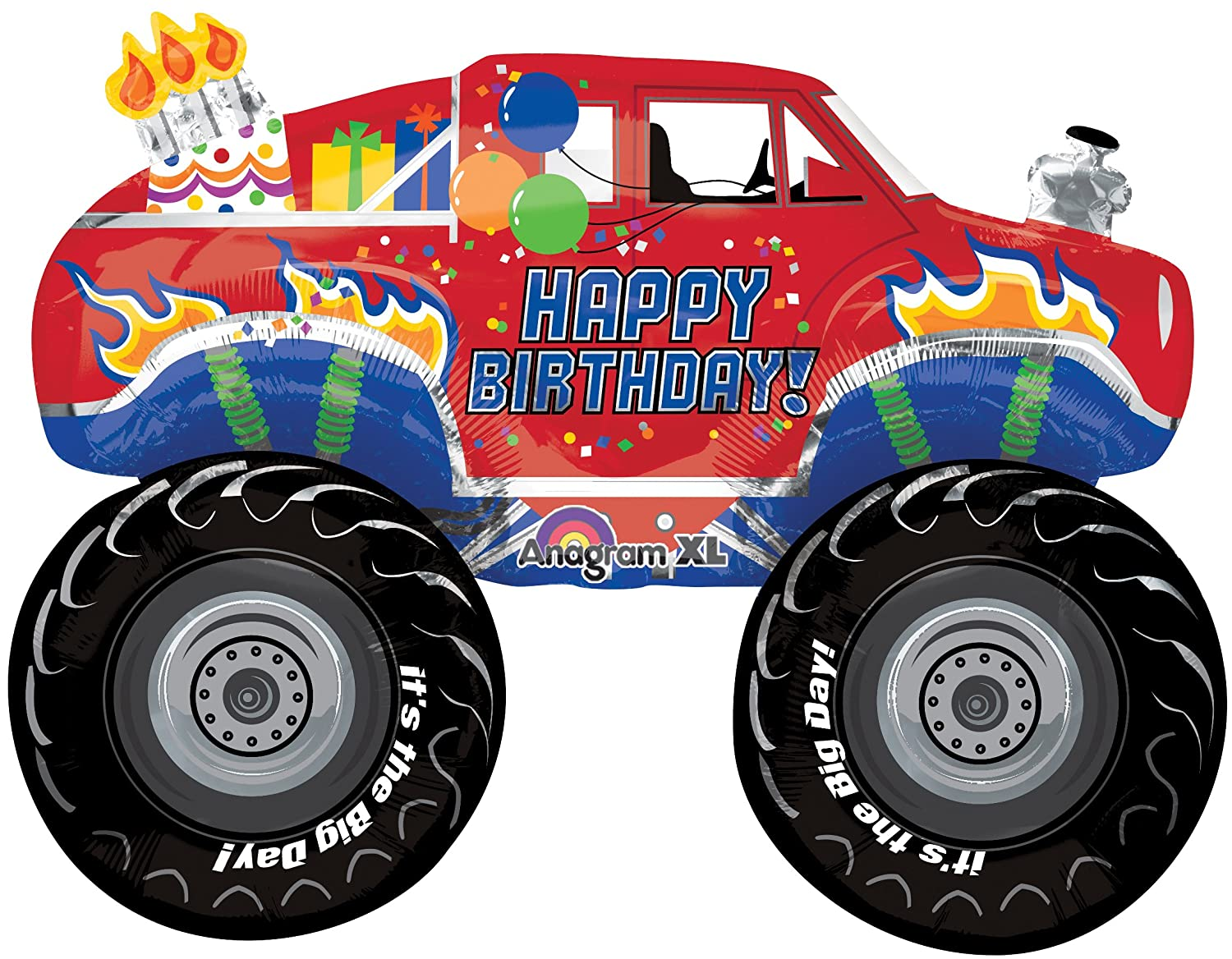 Amazon 11 Pc Monster Truck Happy Birthday Balloon Bouquet Party Decoration Red Flames Toys Games
