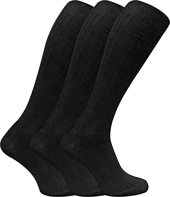 Sock Snob 3 Pares Hombre Finos 100% Algodón Verano Respirable Elegante Altos Largos Rodilla Medias Cómodo Suave Calcetines (39-45 EU, XLCS Black): Amazon.es: Ropa y accesorios