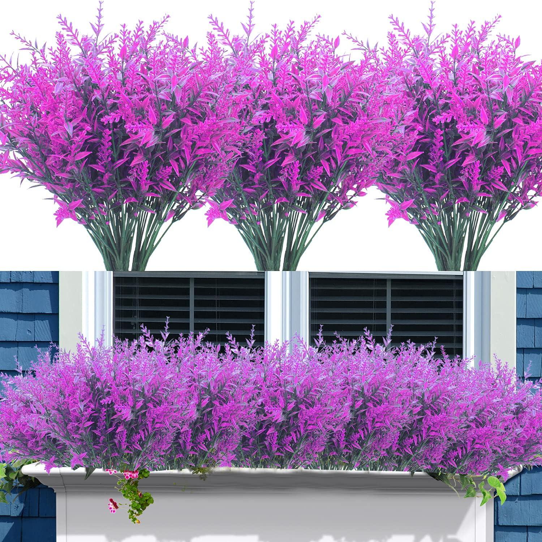 12 Bundles Artificial Lavender Flowers Outdoor Fake Flowers for Decoration UV Resistant No Fade Faux Plastic Plants Garden Porch Window Box Décor (Purple)