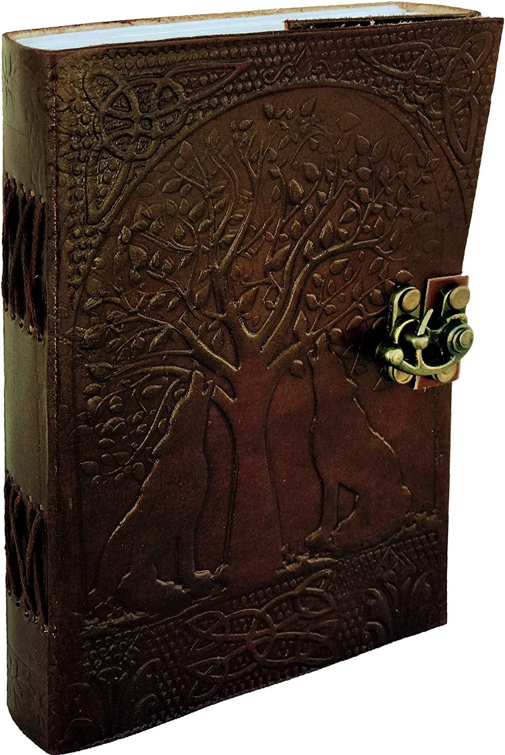Genuine Handmade Leather Journal Wolf Embossed Diary for Men Women Gift Travel Office Journal | 200 Pages 5 x 7 Inches