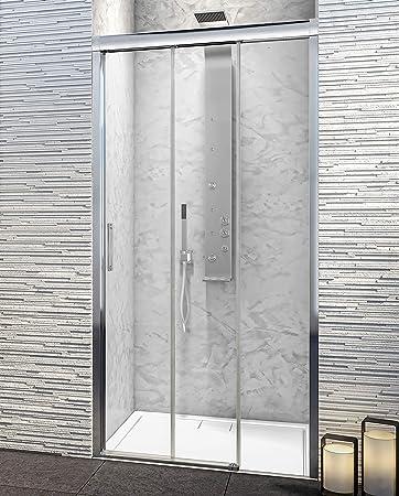 Mampara de Ducha Frontal - 3 Hojas Correderas - Cristal de Seguridad de 6 mm con ANTICAL INCLUIDO - Best - Modelo PORTLAND: Amazon.es: Bricolaje y herramientas