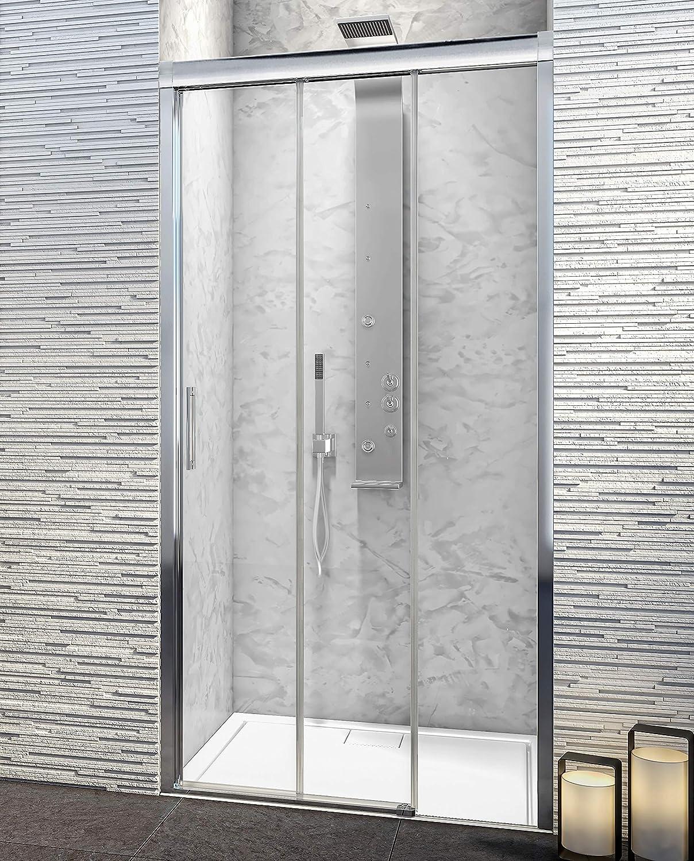 3 Hojas Correderas Modelo PORTLAND Best Mampara de Ducha Frontal Cristal de Seguridad de 6 mm con ANTICAL INCLUIDO