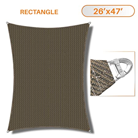 TANG Sunshades Depot A Ring Design Steel Cable Wire Reinforcement Sun Shade Sails 26 x 47 Rectangle Brown Heavy Duty Permeable 260 GSM