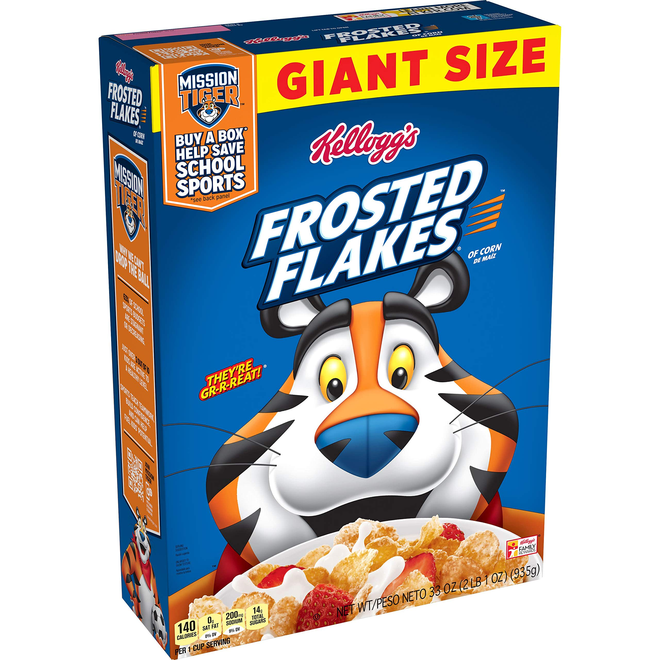 Kellogg's Frosted Flakes Cereal - Sweet Breakfast that Lets Your Great Out, Fat-Free, Giant-Size, 33 Oz Box
