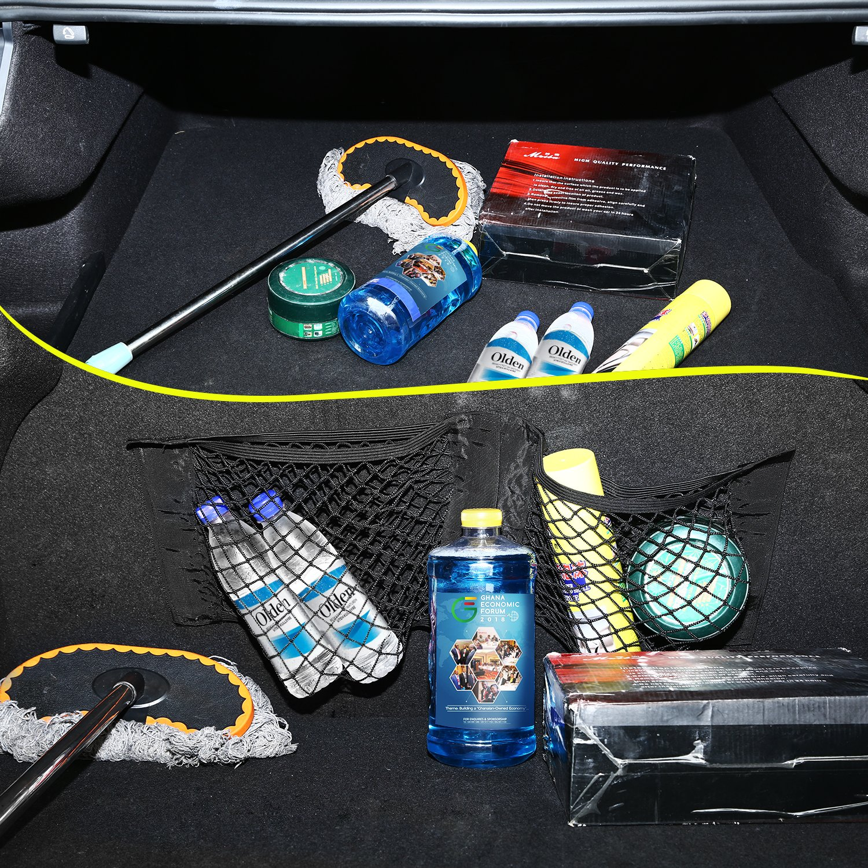 PullPritt Rete Portaoggetti Tasca Oganizer 2* Rete Bagagliaio Auto con Carico di Nylon Flessibile per generi Alimentari,Giocattoli e Attrezzature per la Pulizia dellauto