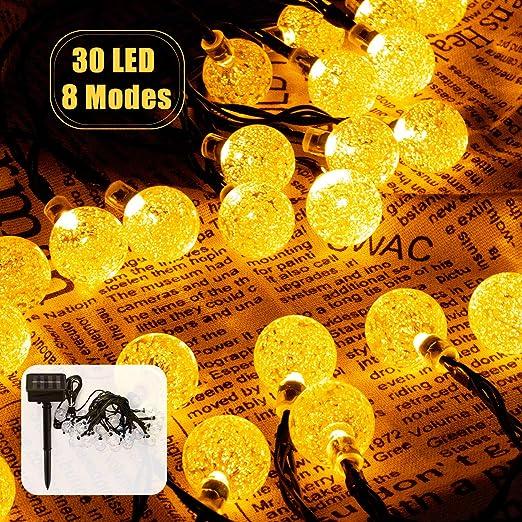 Cadena de Luces, Guirnalda de Luces Solar Exterior 8 Modos 6.5M 30 ...