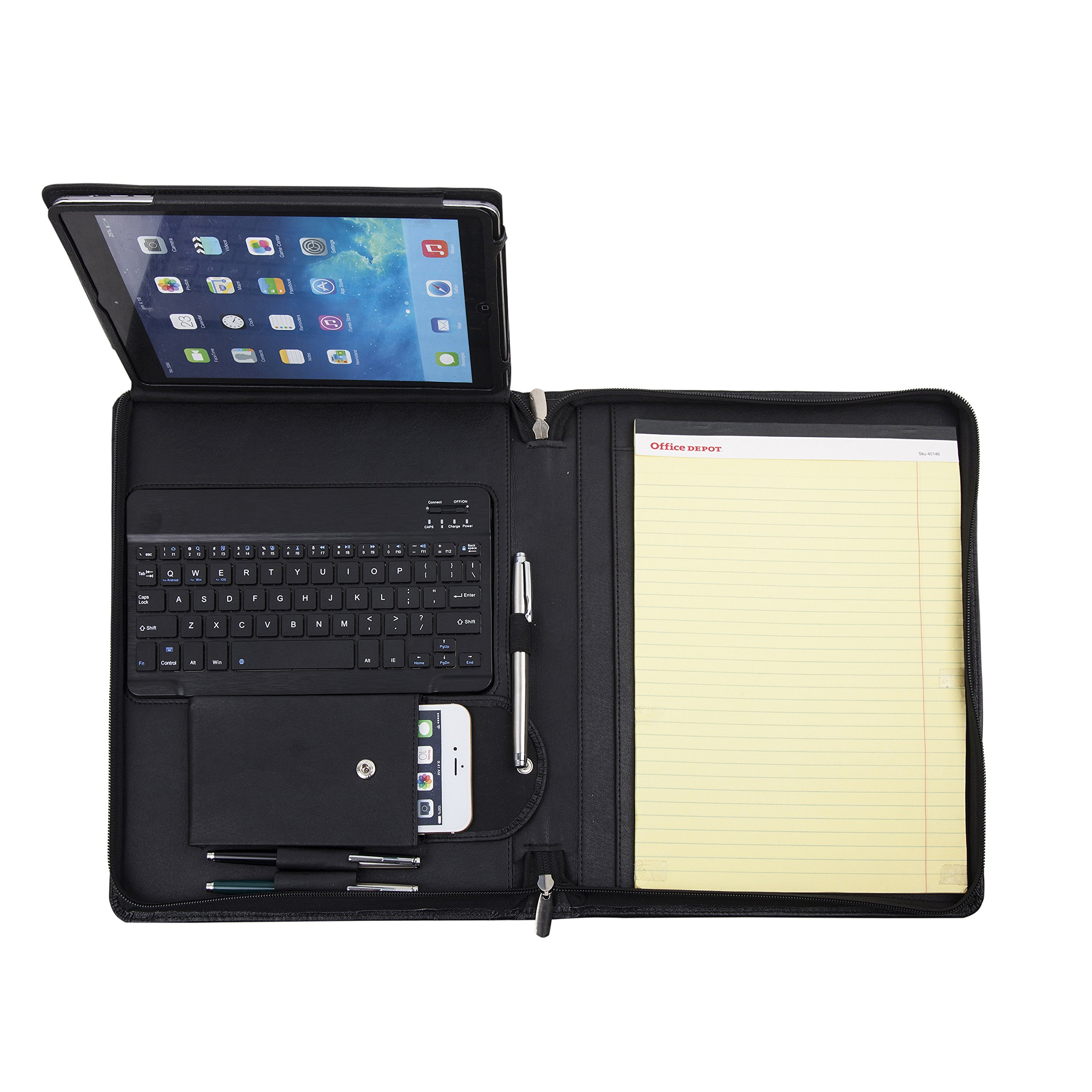 Genuine Padfolio Compact Personalized Leather Portfolio Organizer Business Portfolio Case for iPad 2/3/4 9.7 inch with Removeable Keyboard