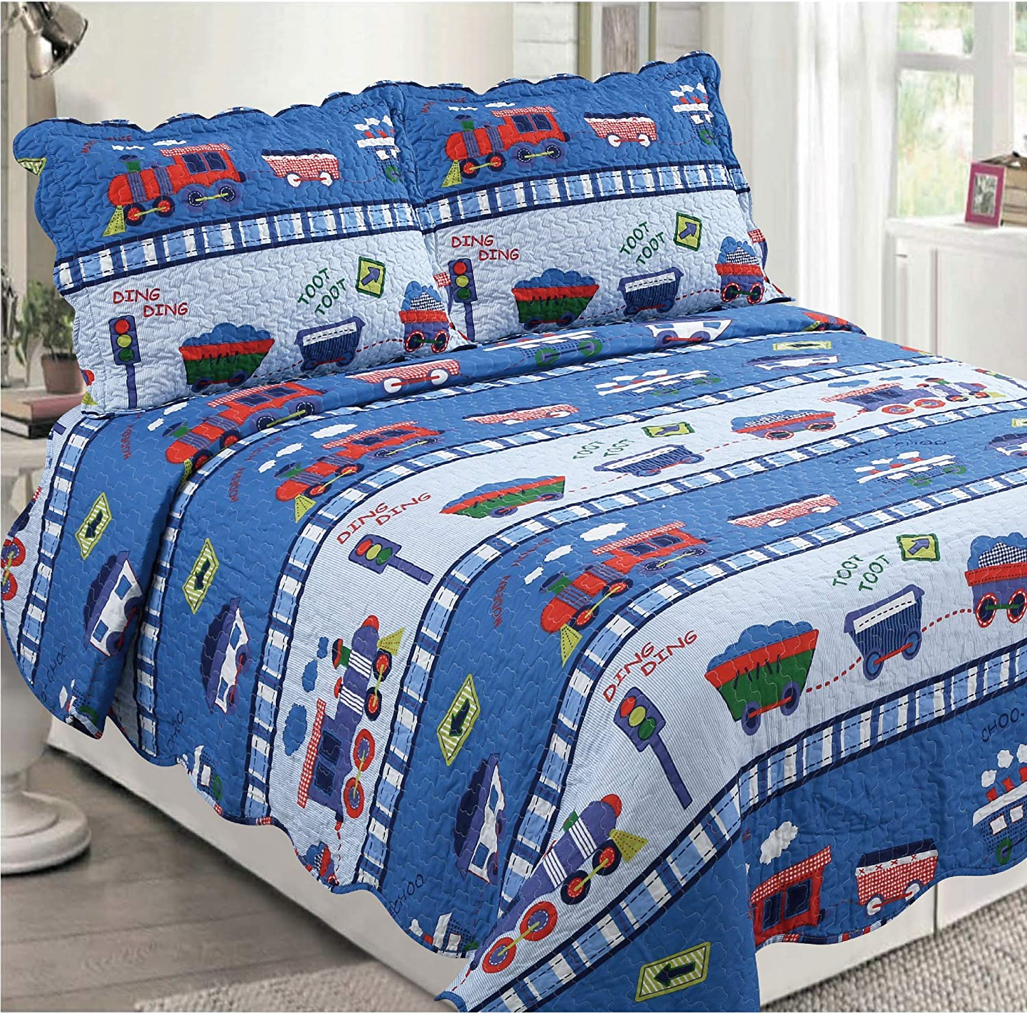 Golden Linens 3 pcs (1 Quilt, 2 Pillow Cases) Bedspread Kids Quilt Multicolor Blue Train at Work # Full Toot Toot Train(29)