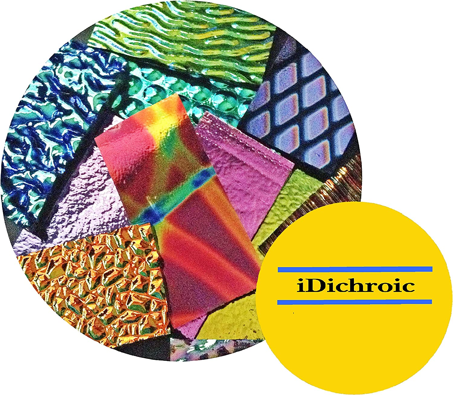 iDichroic Deluxe Assorted Colors Dichroic Fusible Glass Pieces 90 COE 1 OZ.