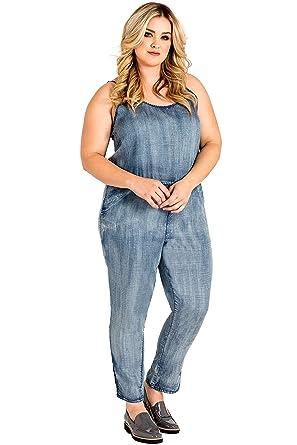 1302be3ee7d Standards   Practices Plus Size Women s Tapered Leg Strap Tencel Denim  Jumpsuit ...