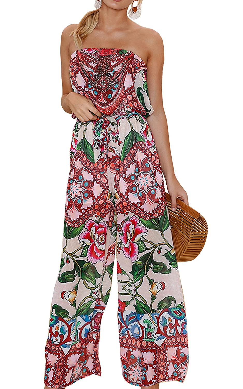 ECOWISH Womens Off Shoulder Floral Print Strapless Jumpsuit Wide Leg Rompers