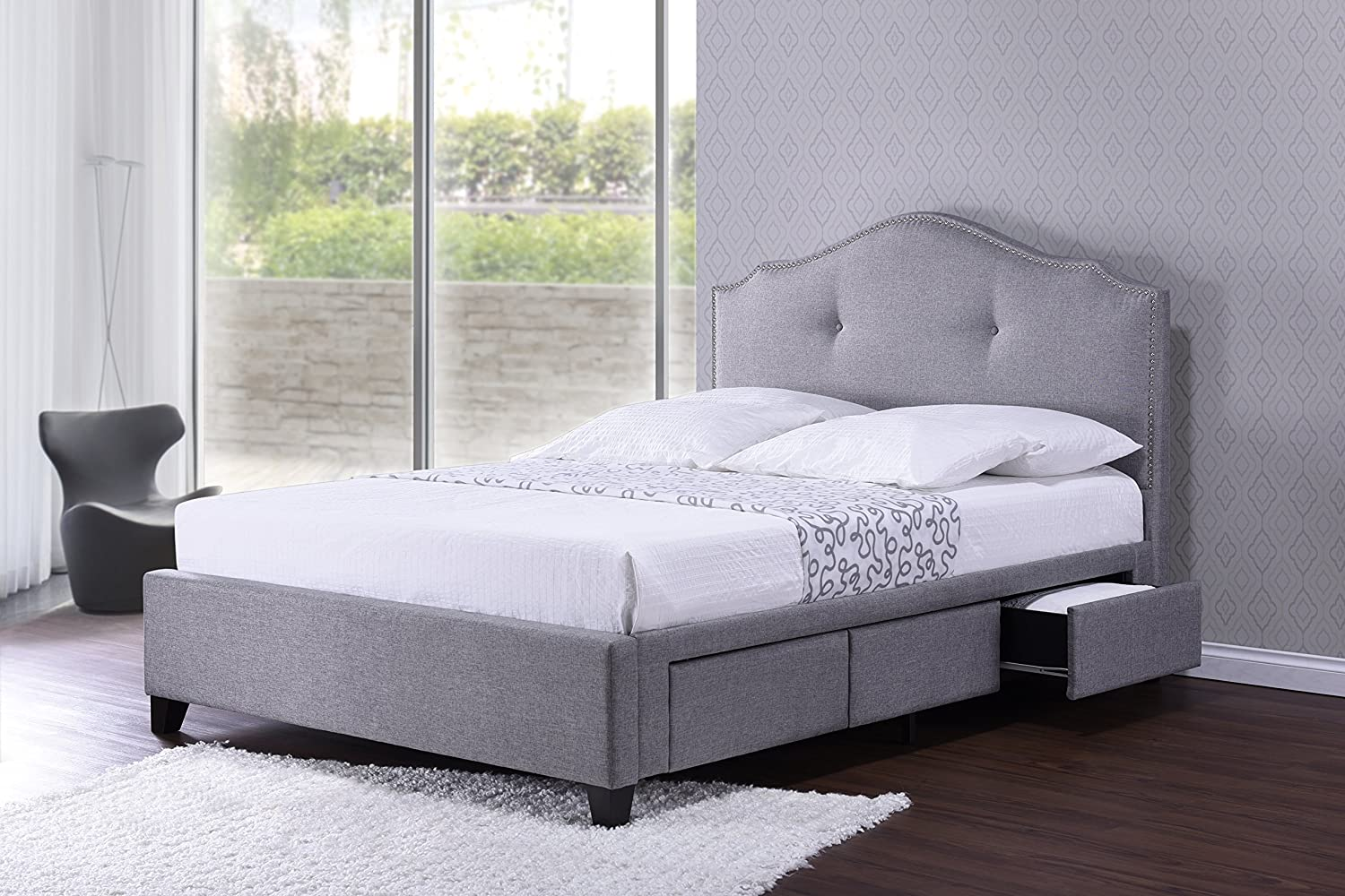 Amazon.com: Baxton Studio Armeena Linen Modern Storage Bed with ...
