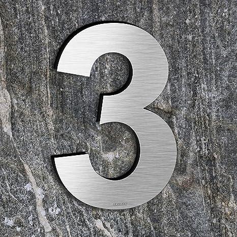 qobobo® Número Casa 3 Tres Signo Vivienda Calle de 304 Acero Inoxidable Cepillado , 200mm
