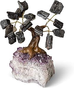 Rock Paradise Crystal Gemstone Tree on Amethyst Stone Base Home Decor - Natural Healing Crystals Money Tree - Zen Crystal Bonsai Tree (Black Tourmaline)