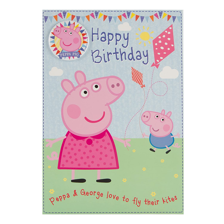 Peppa Pig Tarjeta de cumpleaños con insignia: Amazon.es ...