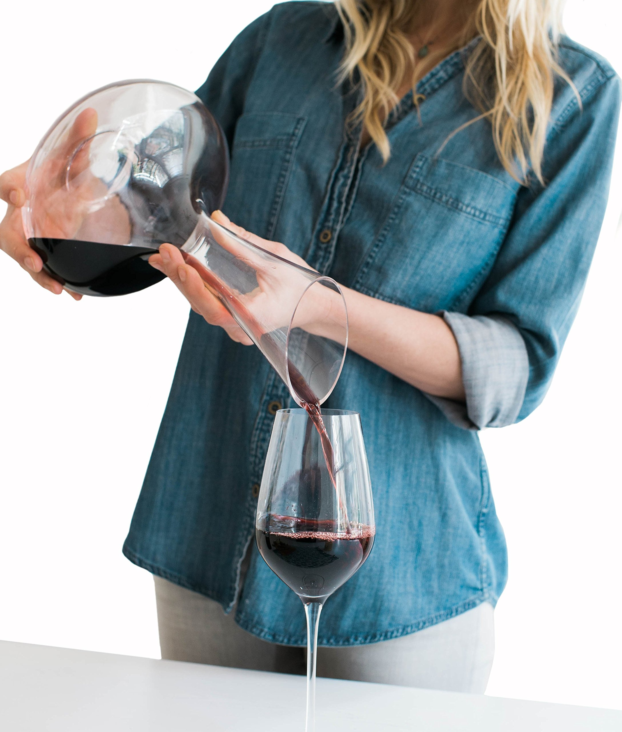 Wine Decanter by Aria - All Hand Blown Lead Free Crystal Glass with a Perfect Pour Spout by Aria (Image #2)