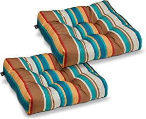 Classic Accessories Water-Resistant 19 x 19 x 5 Inch Square Patio Seat Cushion, SanteFe Stripe, 2-Pack