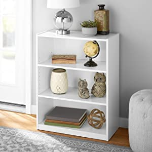 Mainstay' 3-Shelf Bookcase | Wide Bookshelf Storage Wood Furniture Bundle Set (White)