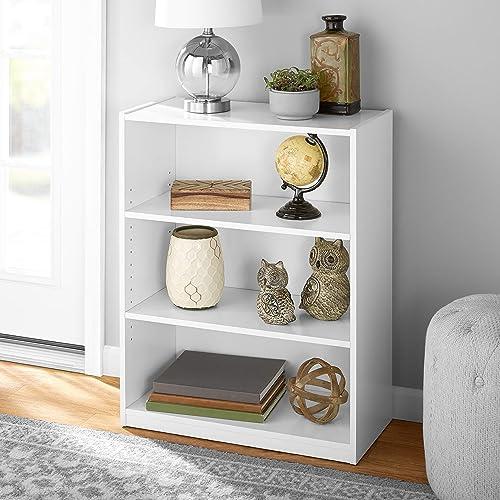 Mainstay' 3-Shelf Bookcase | Wide Bookshelf Storage Wood Furniture Bundle Set White White