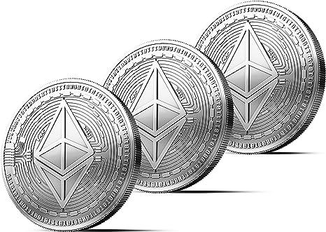 3x Moneda física de Ethereum revestida en plata auténtico. Una verdadera pieza de coleccionista, con estuche protector. Una adquisición obligada para ...