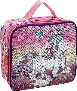 HAPPYSUNNY Reversible Sequin Unicorn Lightweight Reusable Lunch Bag Insulated Lunch Box Portable Pack To School For Kids School Students Kindergarten Children Boys Girls