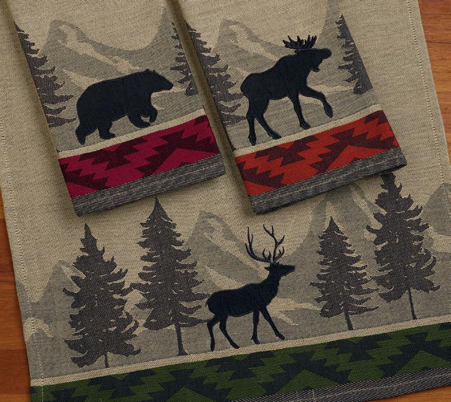 Design Imports A Walk in the Woods Table Linens, 18-Inch by 28-Inch Dishtowels, Set of 3, Walk in the Woods Jacquard – 1 Bear, 1 Moose and 1 Elk