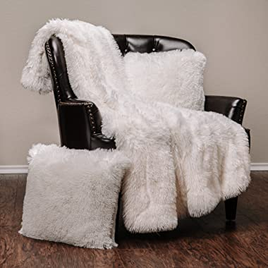 Chanasya 3-Piece Super Soft Shaggy Throw Blanket Pillow Cover Set - Chic Fuzzy Faux Fur Elegant Fleece Sherpa Throw (50 x65 )& Two Throw Pillow Covers (18 x 18 )- For Bed Couch Chair Sofa- Ivory White