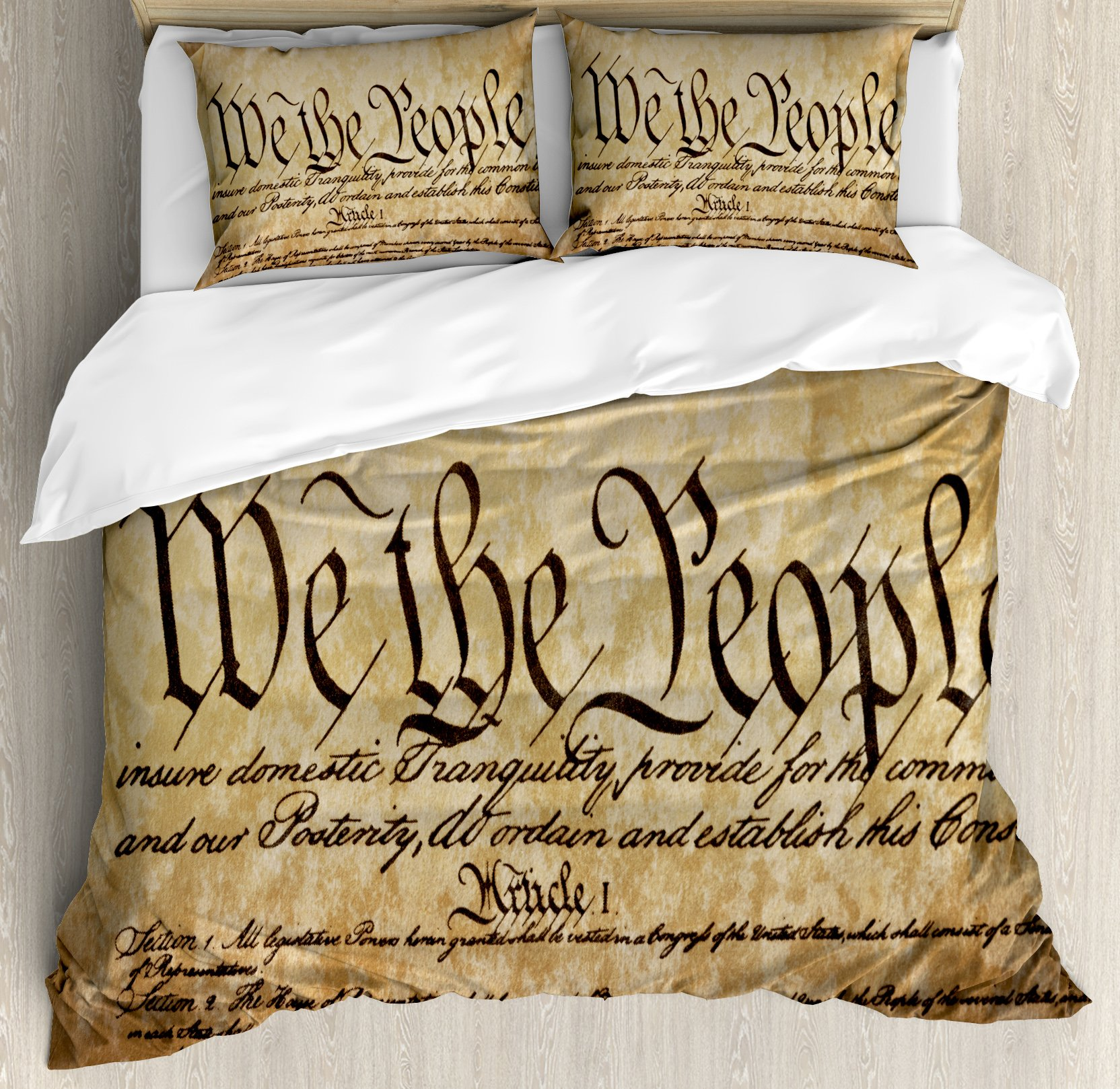 United States Queen Size Duvet Cover Set by Ambesonne, Vintage Constitution Text of America National Glory Fourth of July Image, Decorative 3 Piece Bedding Set with 2 Pillow Shams, Light Brown