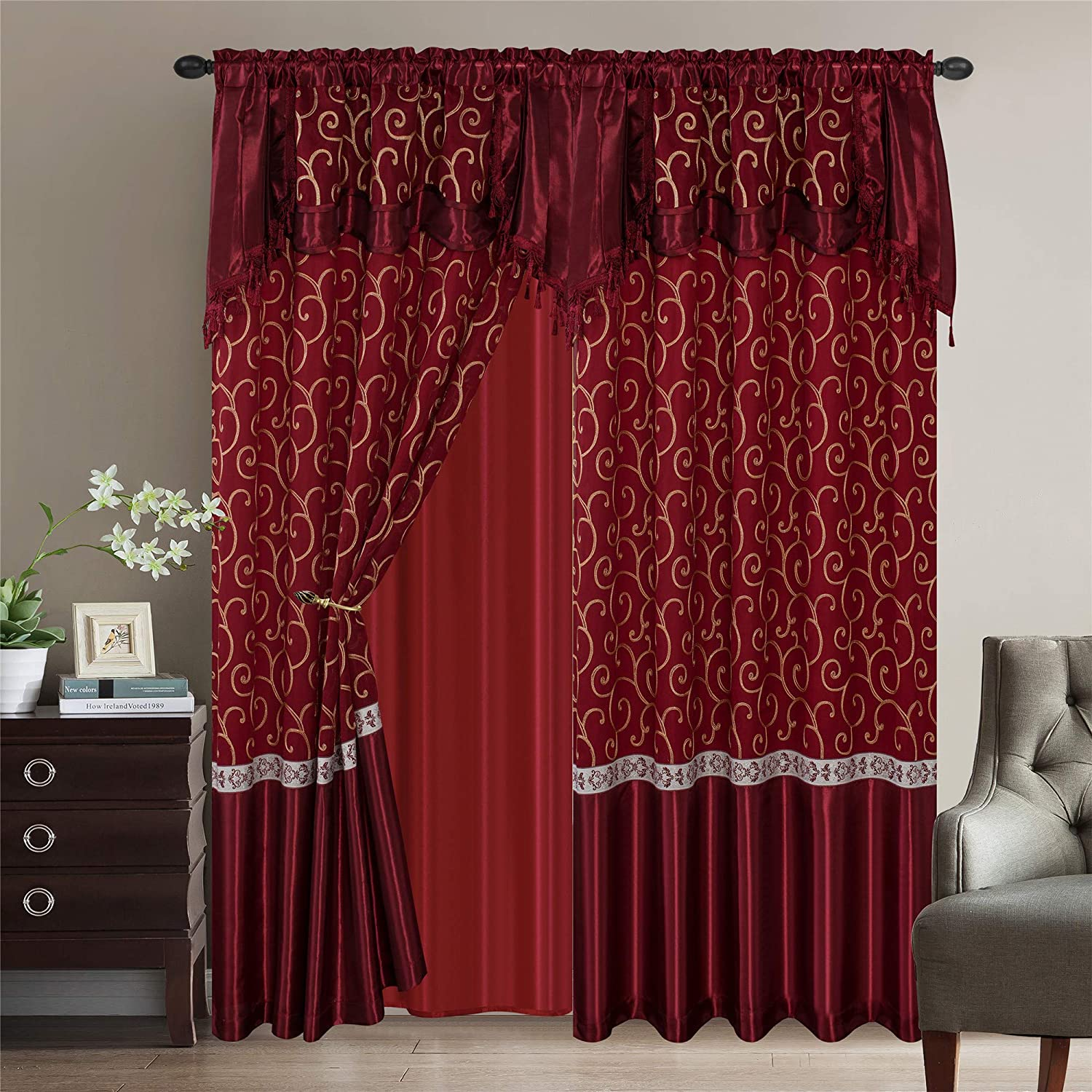 Luxury Home Collection 2 Panel Embroidered Curtain Set with Attached Valance and Sheer Backing 55