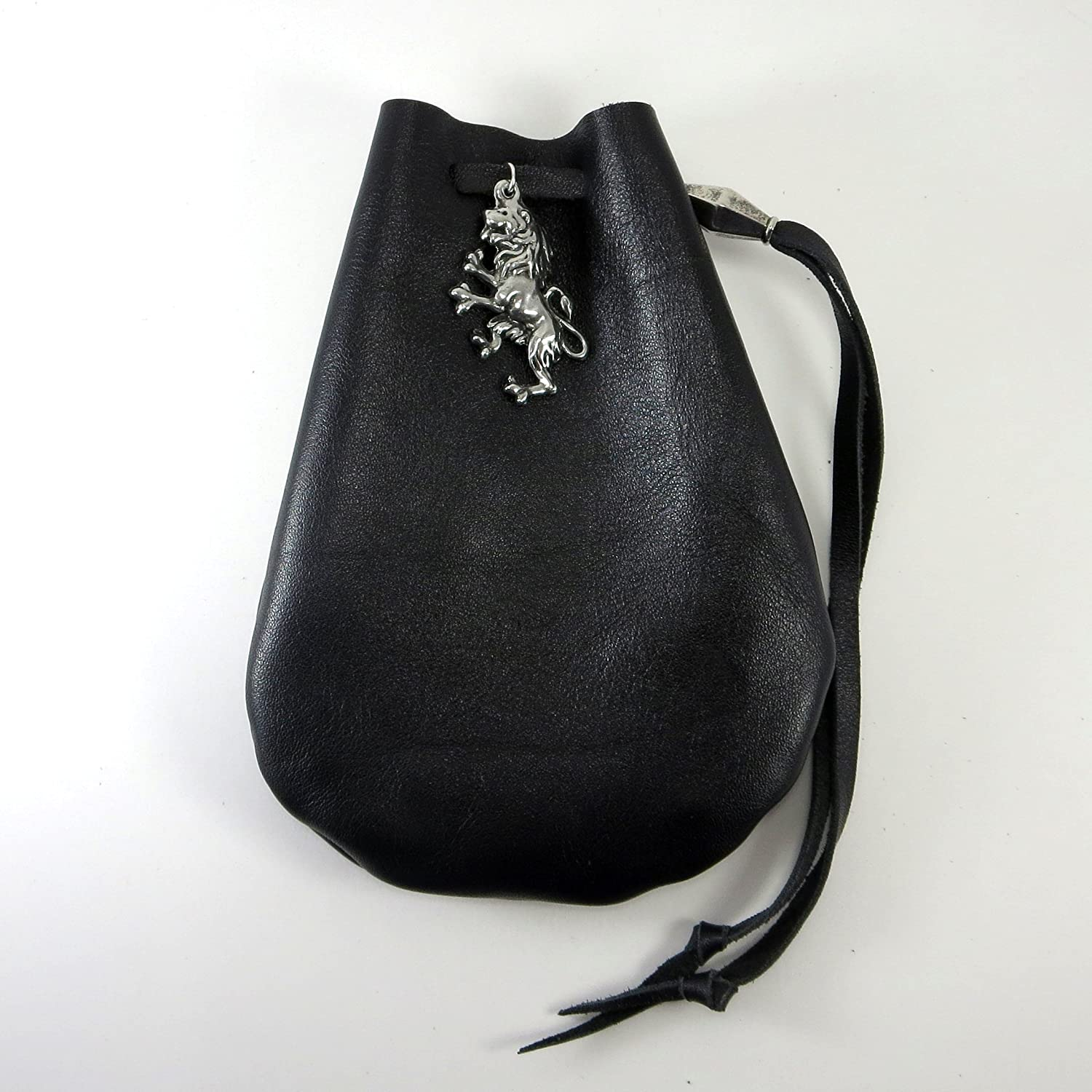 Handmade Black Leather & Pewter Lion Accent Drawstring Pouch