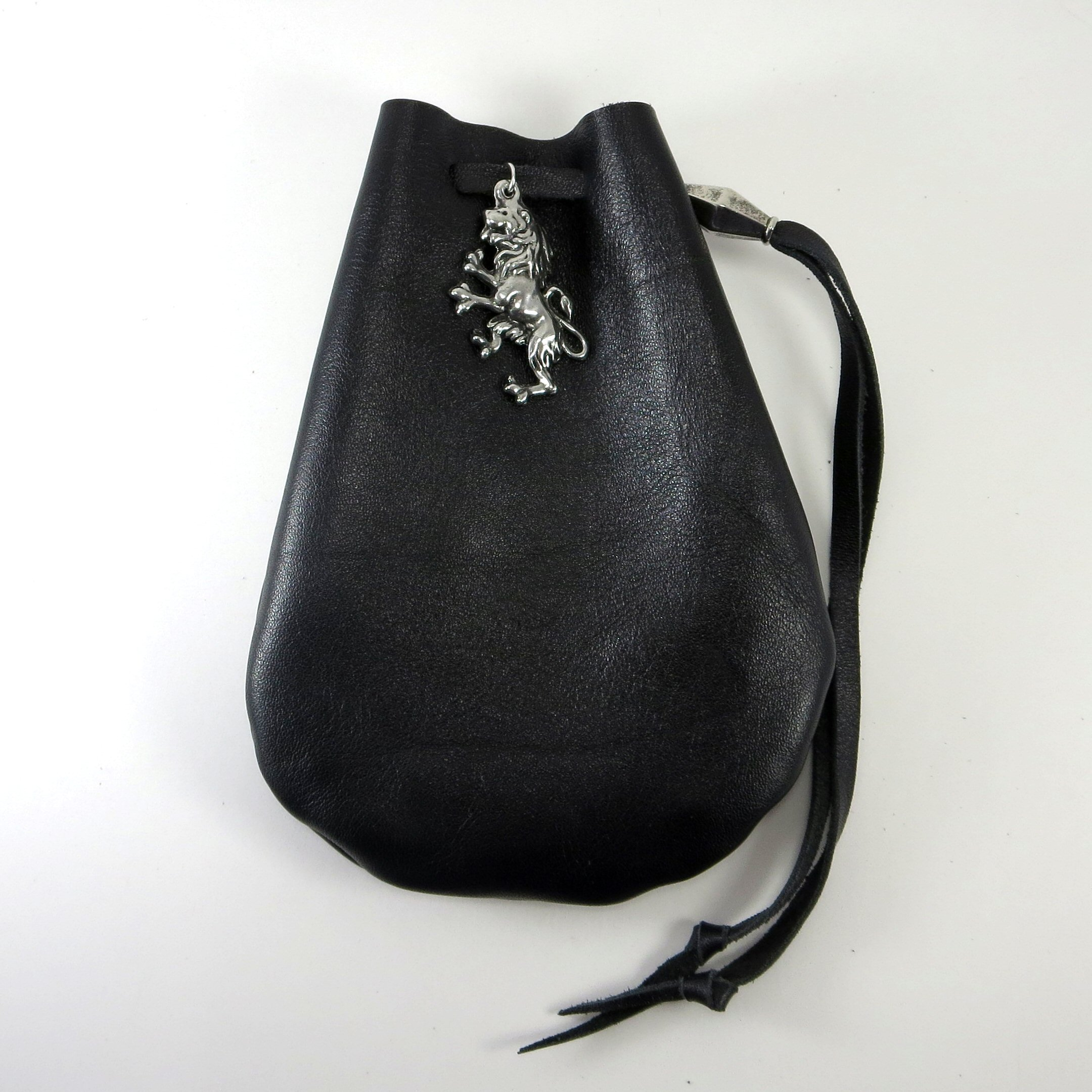 Black Leather Drawstring Pouch with Rampant Lion Pewter Accent and Bead