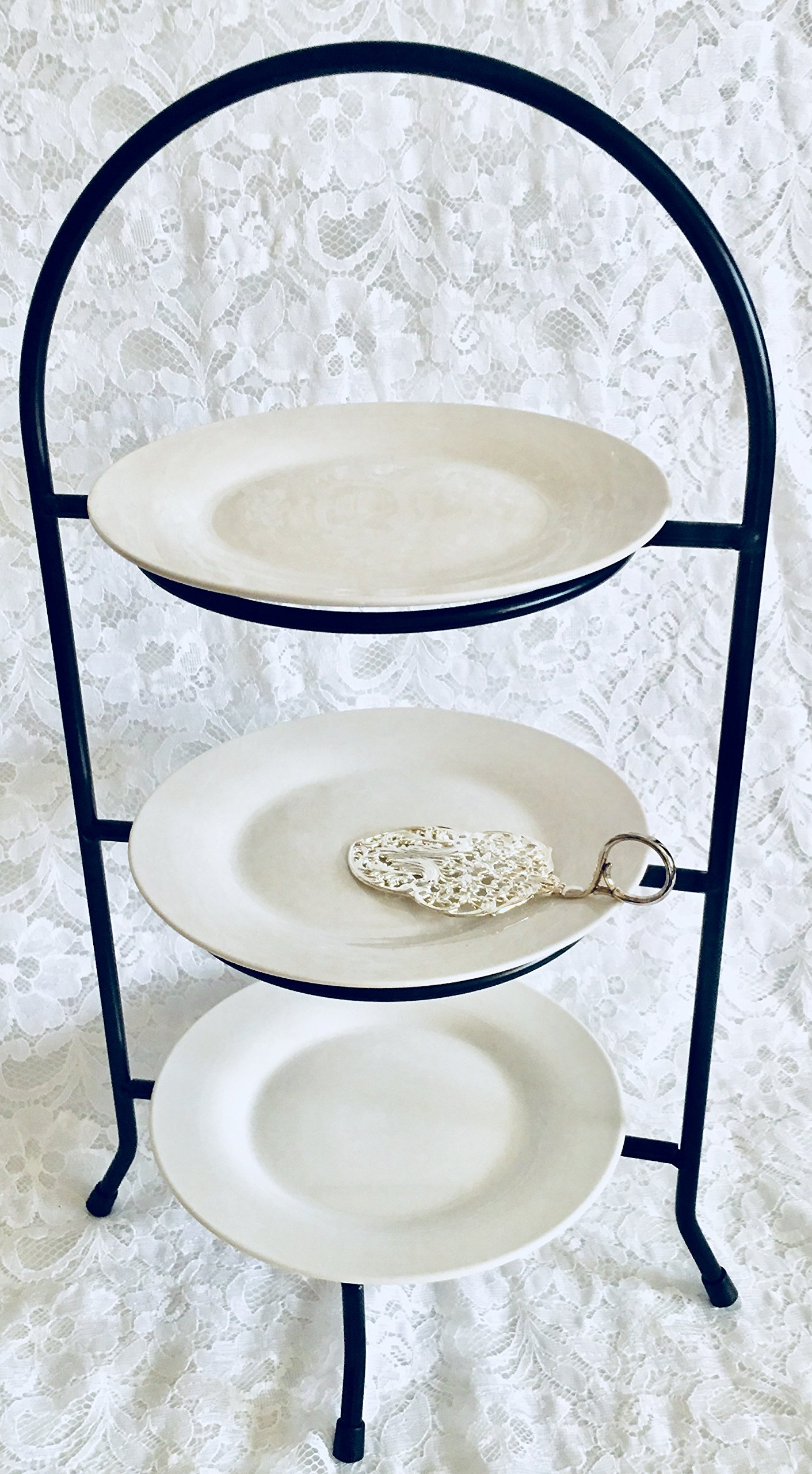 3 Tiered Serving Tray Platter Stand and Dessert Plate Bundle Three Tier Serving Stand to Display Tea Sandwiches and Bite-size Desserts