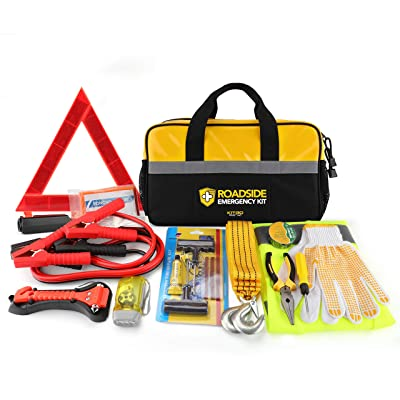 Kitgo Car Emergency Kit, Premium Roadside Assistance Essentials with Jumper Cables, Flashlight, Tow Rope, Life Hammer - Ideal Auto Road Safety Kit for Winter, Survival, Truck, RV and More (Yellow): Health & Personal Care