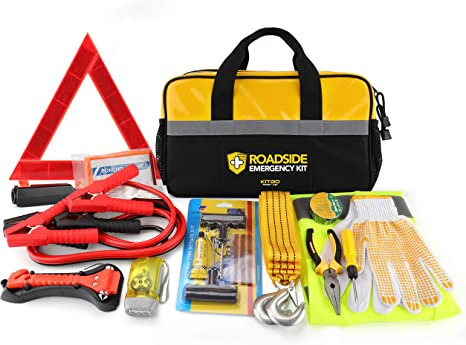 Auto Emergency Kit Frist Aid Kit for Cars and Trucks Roadside Assistance Auto Car Emergency Survival Kit Safety Kit Reflective Triangle,Tow Rope and Vehicle Survival Tools 16.4 Feet Jumper Cable