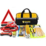 Kitgo Car Emergency Kit, Premium Roadside Assistance Essentials with Jumper Cables, Flashlight, Tow Rope, Life Hammer - Ideal Auto Road Safety Kit for Winter, Survival, Truck, RV and More (Yellow)
