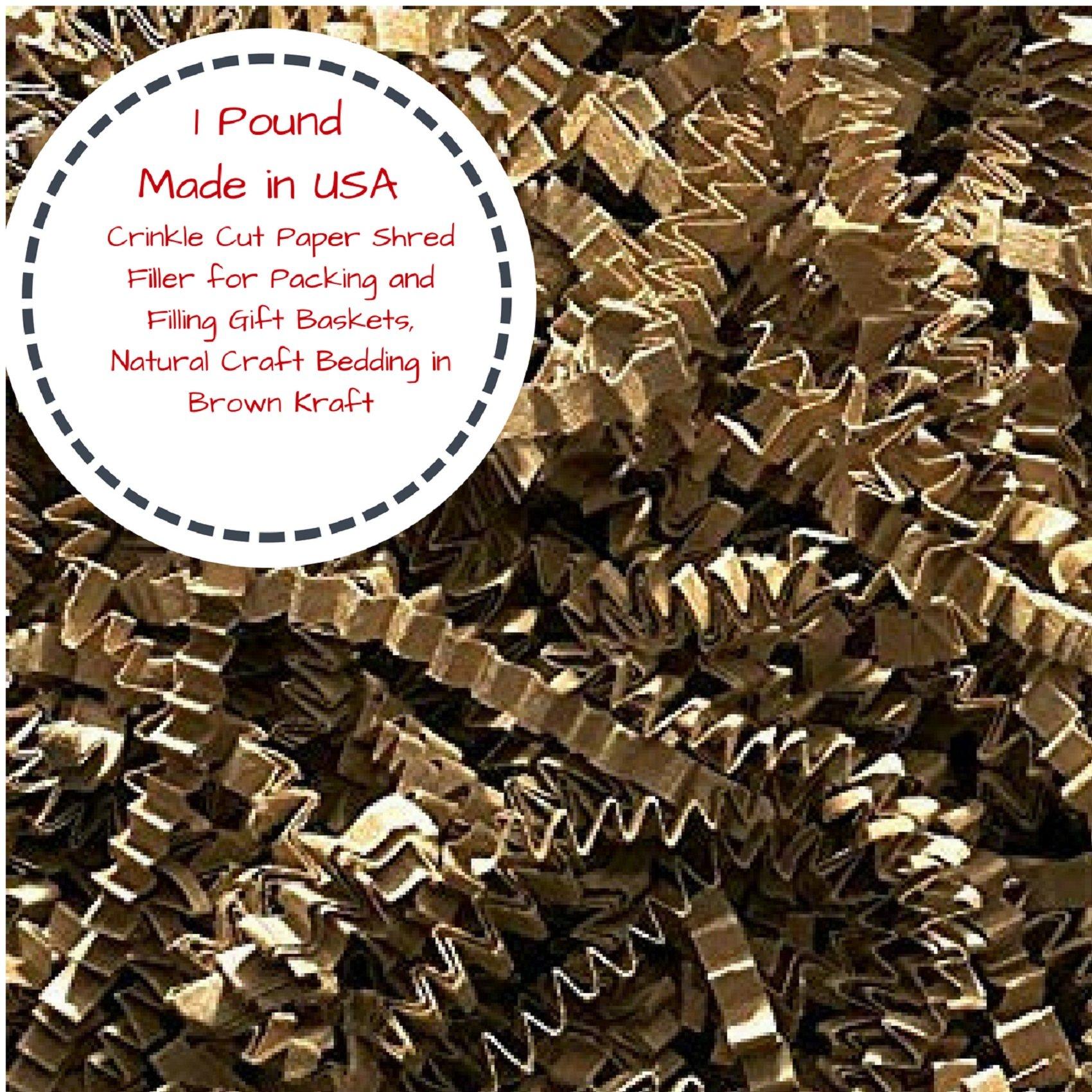 Crinkle Cut Paper Shred Filler for Packing and Filling Gift Baskets, Natural Craft Bedding in Brown Kraft