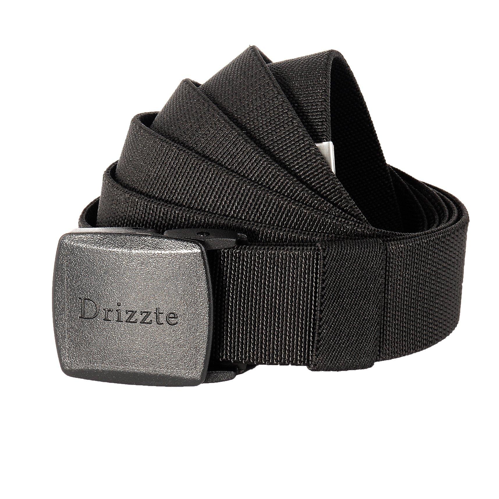 Drizzte 71'' Plus Size Elastic Stretch Adjustable Dress Belt Plastic Buckle Black